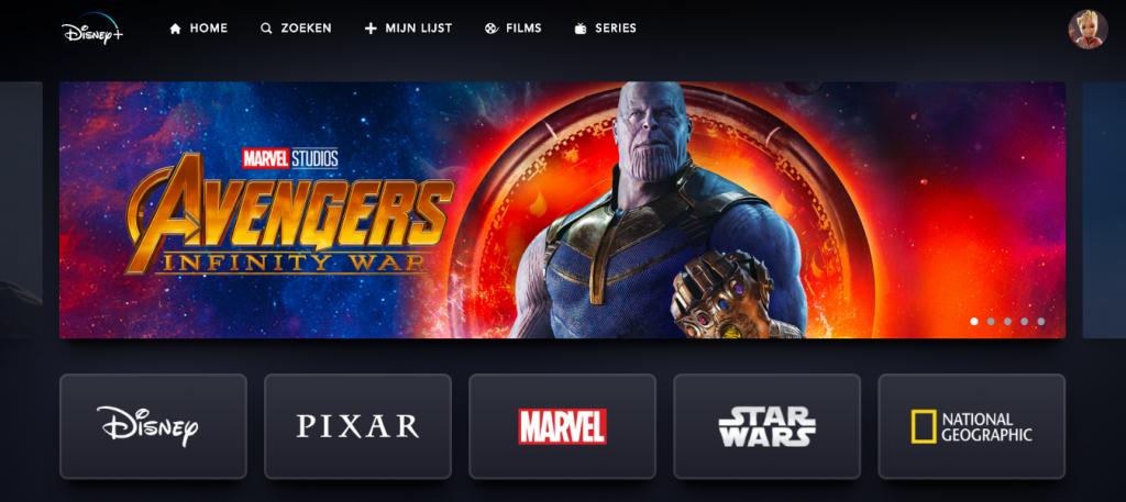 Het beginscherm van Disney+ met verschillende collections