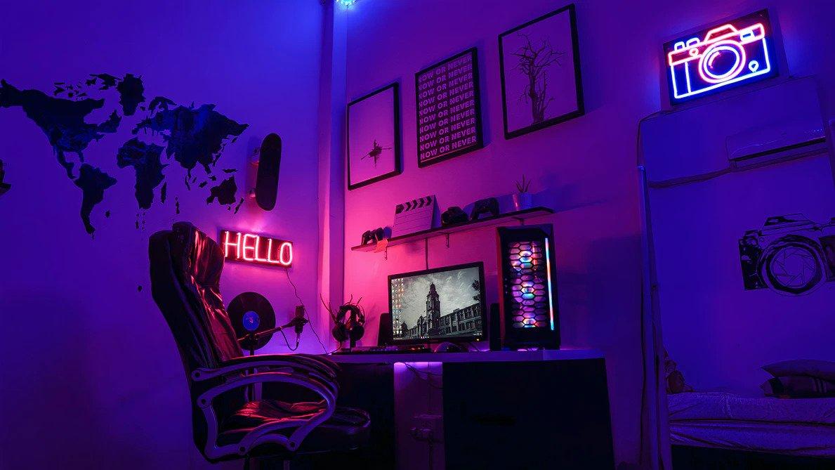 gaming pc en neon licht